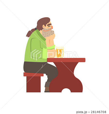 Man With Ponytail Drinking Alone At The Table 28146708