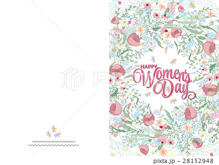 Greeting card with cute little flowers. 8 march -のイラスト素材 [28152948] - PIXTA