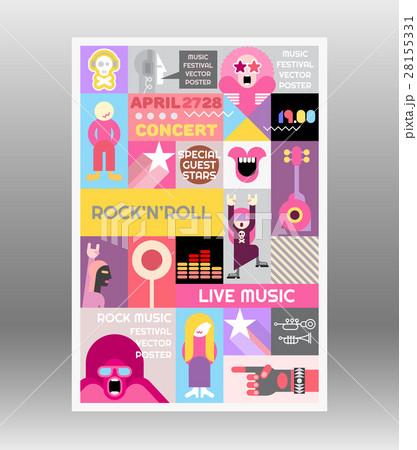 rock concert poster templateのイラスト素材 28155331 pixta
