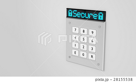 Silver keypad with led display showing secure 28155538