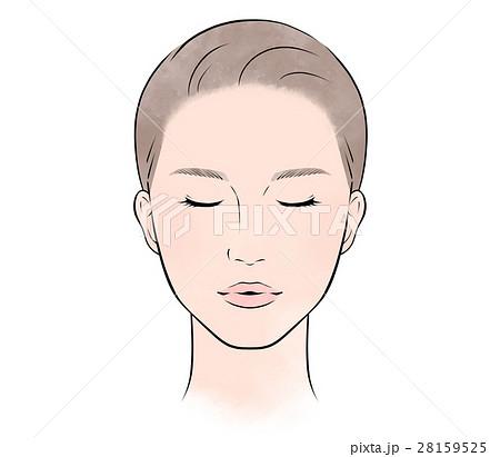 美肌の女性 正面 目を閉じる 28159525