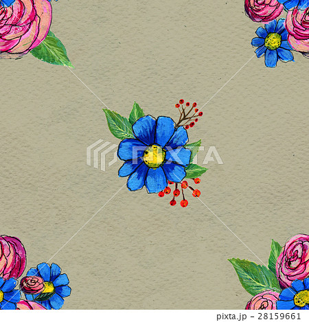Seamless pattern with blue and pink flowers 28159661