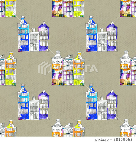 Seamless pattern eith watercolor Amsterdam houses 28159663