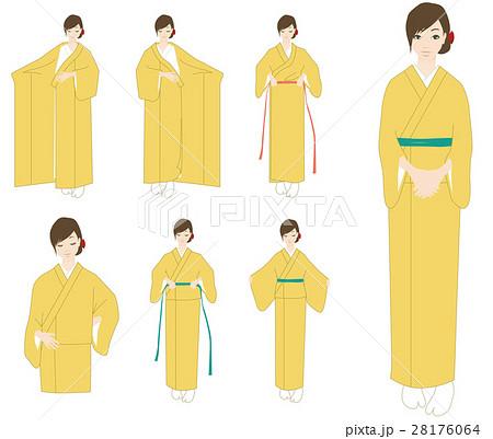 着物の着付けを自分でのイラスト素材 28176064 Pixta
