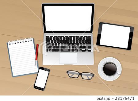 Computer desk top viewのイラスト素材 [28176471] - PIXTA