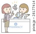 中年女性が薬局で薬剤師と相談しているイラスト 28177414
