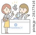 黄色いスカートをはいた女性が薬局で薬剤師と相談しているイラスト 28177416