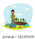 Fisher man with fish catch vector 28183426