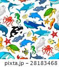 Sea ocean cartoon animals, fishes vector pattern 28183468