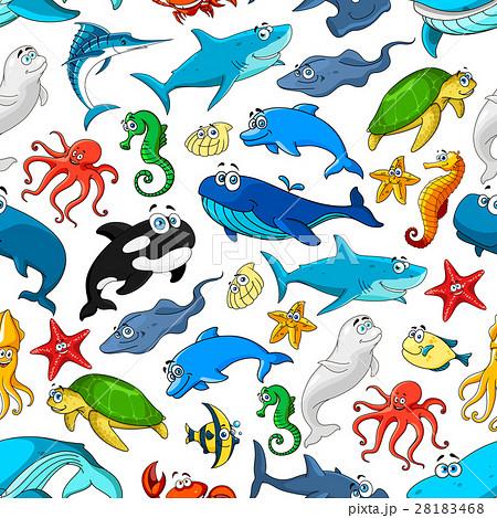 Sea ocean cartoon animals, fishes vector patternのイラスト素材 [28183468] - PIXTA