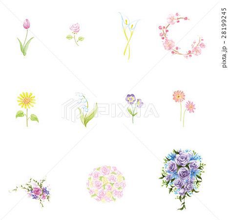 手描き花素材セットのイラスト素材