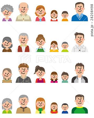 三世代家族ベクターセット 28208498