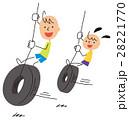 タイヤの遊具で遊ぶ子供 28221770