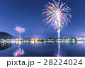 河口湖 花火 富士山の写真 28224024