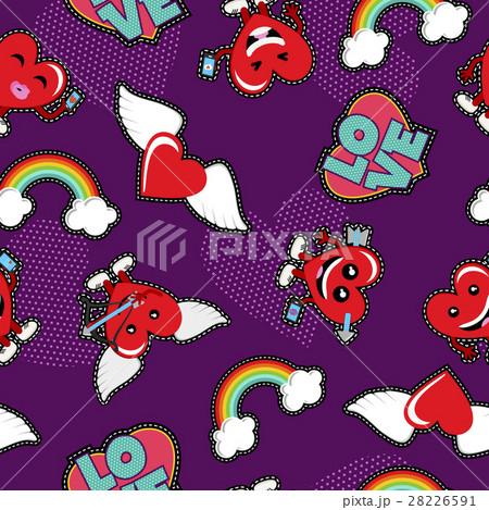 Valentines day love emoji patch seamless patternのイラスト素材 [28226591] - PIXTA