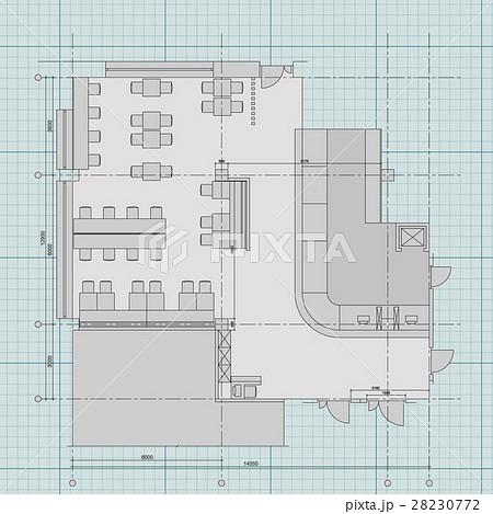 Standard cafe furniture symbols on floor plansのイラスト素材 [28230772] - PIXTA