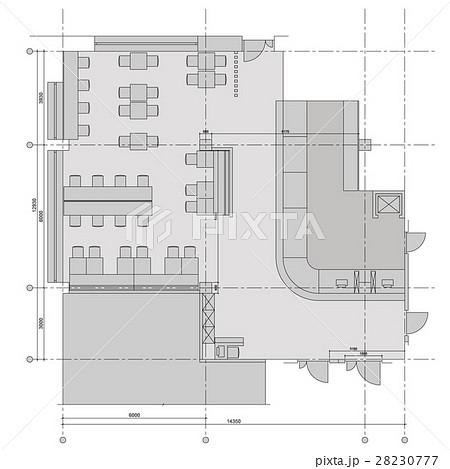Standard cafe furniture symbols on floor plansのイラスト素材 [28230777] - PIXTA