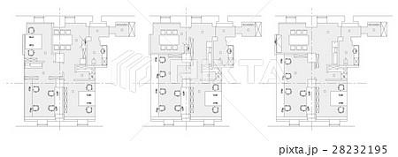 Standard office furniture symbols setのイラスト素材 [28232195] - PIXTA