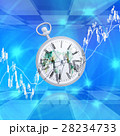 世界市場で時計が時間を刻んでいく 28234733