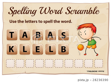 spelling word scramble for word basketballのイラスト素材 28236390