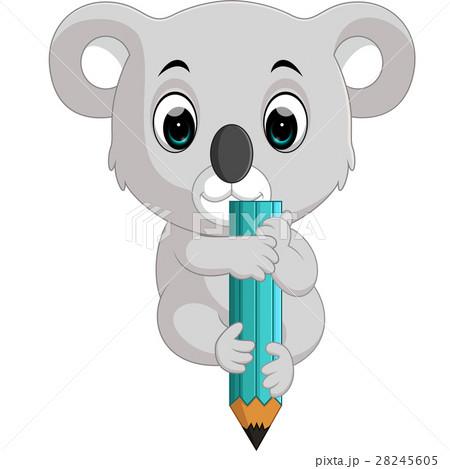 Cute koala holding pencil 28245605