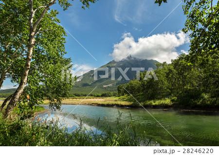 Khodutkinskiye hot springs at the foot of volcano 28246220
