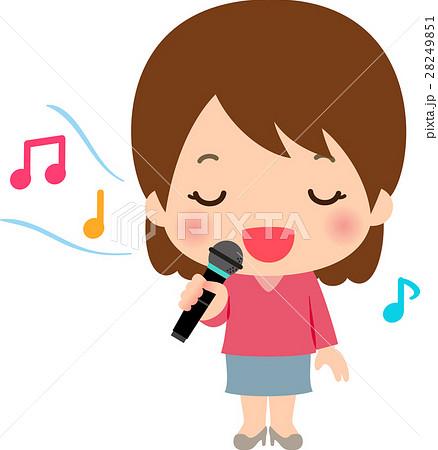 カラオケで歌う歌が上手い女性のイラスト素材 28249851 Pixta