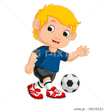 Cartoon boy playing football 28259322