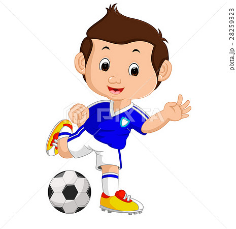 Cartoon boy playing football 28259323