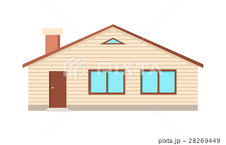 House with Two Windows, Door and Chimney Isolated 28269449