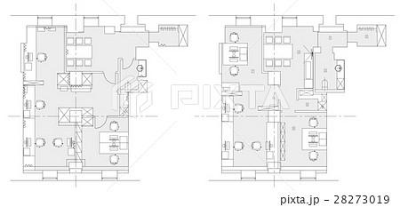Standard office furniture symbols setのイラスト素材 [28273019] - PIXTA