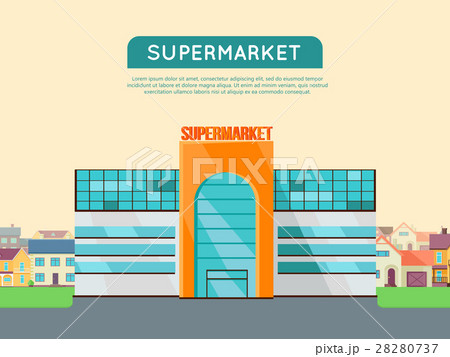 shopping mall web template in flat design のイラスト素材 28280737