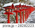 貴船神社 雪 灯篭の写真 28282223