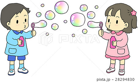 シャボン玉 子供のイラスト素材 28294830 Pixta