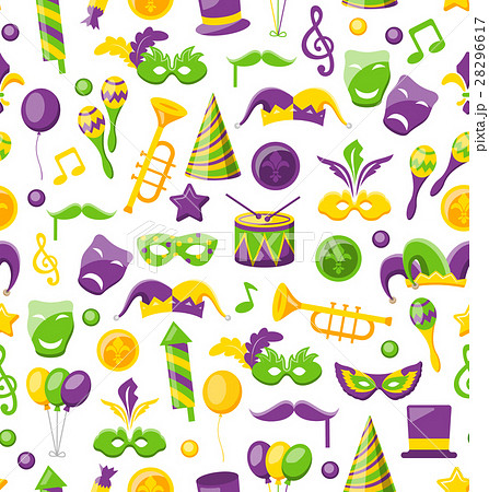 Seamless Texture with Set Carnival and Mardi Gras 28296617