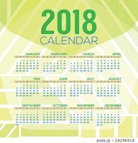 2018 printable calendar starts sunday vector のイラスト素材