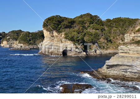 勝浦海中公園から海食崖の地層を見る 28299011