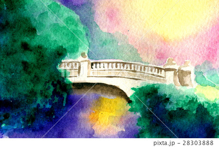 watercolor sketch of bridge and natureのイラスト素材 [28303888] - PIXTA