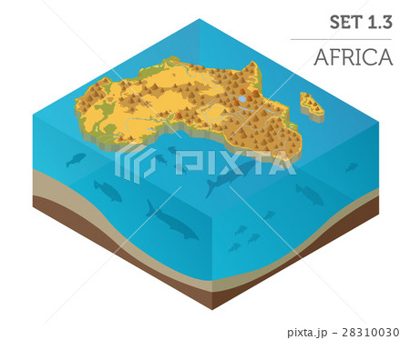 Flat 3d isometric Africa map constructor elements 28310030