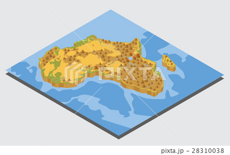 Flat 3d isometric Africa map constructor elements 28310038