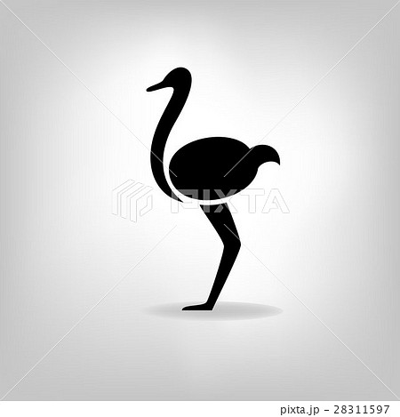 The black stylized silhouette of an ostrich 28311597