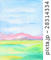 手描き水彩風景画でピンク色の丘陵と青空 28314334