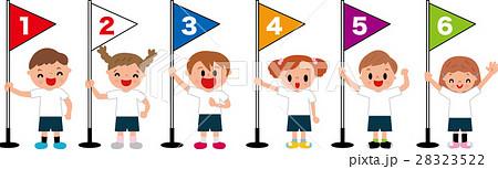 小学校運動会の徒競走 旗 順位 1着2着3着4着5着6着 28323522