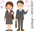 スーツを着た笑顔の男女と桜 28323837