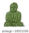 鎌倉大仏 水彩画 手描き 水墨画 28331536