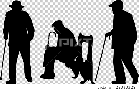 Old men with cane silhouettes 28333328