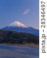 富士山と富士川の流れ、冬の朝 28346497