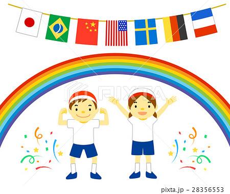 万国旗や体操着など 運動会で使えるイラスト 28356553