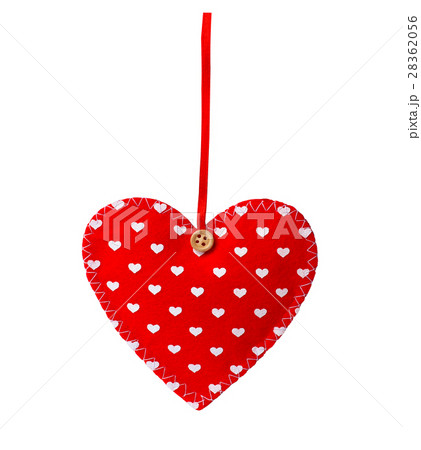 Red sewn heart isolated on whiteの写真素材 [28362056] - PIXTA