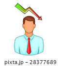 Man with falling graph icon, cartoon style 28377689